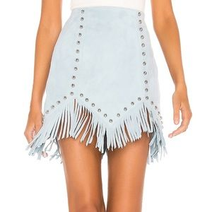 NBD Skirt in Crystal Blue Suede